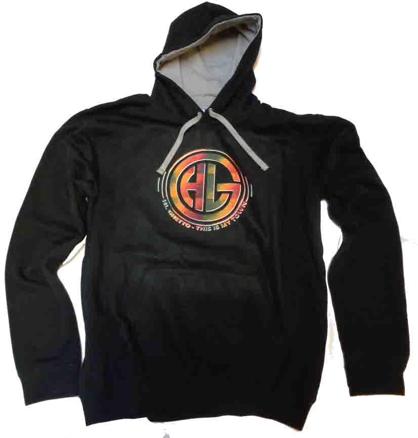 Mikina s kapucí HL Ghetto -Logo black rasta camuflage  f0186072b12