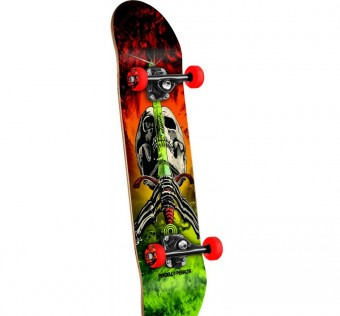 Powell Peralta Skull and Sword Storm Complete Skateboard Red/Lime - 7.5